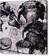 Calves, Damp, Newborn, 1978 Pen & Ink On Paper Canvas Print