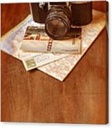 Camera Map And Postcards Canvas Print