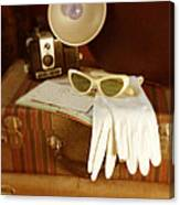 Camera Sunglasses On Luggage Canvas Print
