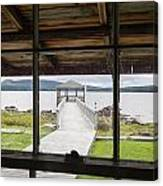 Camp Bellevue Dock From Window Canvas Print