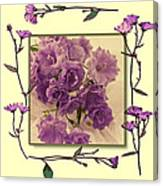 Campanula Framed With Pressed Petals Canvas Print