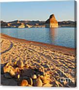 Campfire Ring On Lone Rock Beach  Canvas Print