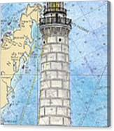 Cana Island Lighthouse Wi Nautical Chart Map Art Canvas Print