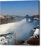 Canada And America At Niagara Falls Canvas Print