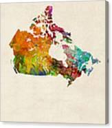 Canada Watercolor Map Canvas Print