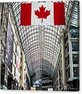 Canadian Flag Over Eaton Center Canvas Print