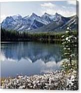 1m3541-canadian Peak Reflected In Herbert Lake Canvas Print