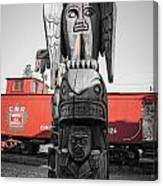 Canadian Totem And Railway Canvas Print