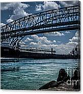 Canadian Tranfer Under Blue Water Bridges Canvas Print