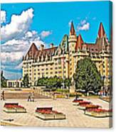 Canadian War Memorial And Chateau Laurier In Ottawa-ontario  Canvas Print