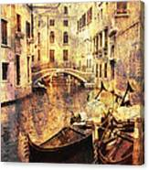 Canal And Docked Gondolas In Venice Canvas Print