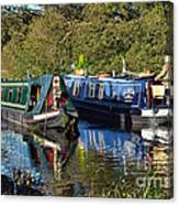 Canal Boats Passing Canvas Print