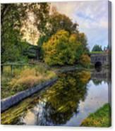Canal Drifting Leaves Canvas Print