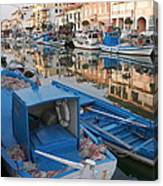 Canal In Grado With Fishing Boats Canvas Print