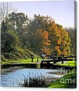 Canal Locks In Autumn Canvas Print