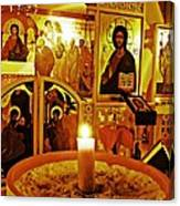 Candle And Icons Canvas Print