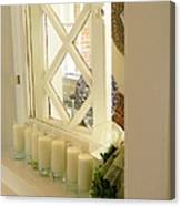 Candles And Wicker And Window Canvas Print