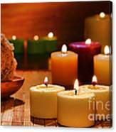 Candles Burning In A Spa  Canvas Print