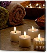 Candles In A Spa Canvas Print