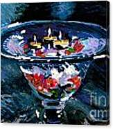 Candles In Water Canvas Print