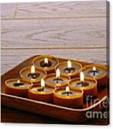 Candles In Wood Tray Canvas Print