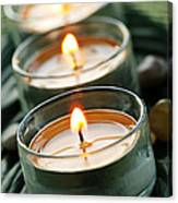 Candles On Green Canvas Print