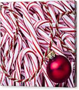 Candy Cane And Red Ornament Canvas Print