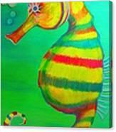 Candy Cane Seahorse Canvas Print