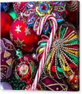 Candy Canes And Colorful Ornaments Canvas Print