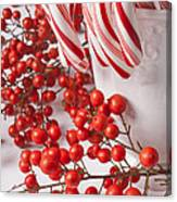 Candy Canes And Red Berries Canvas Print