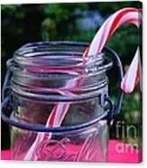Candycane In Ball Jar Canvas Print