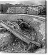 Cannon Remains From Ww2 Bw Canvas Print