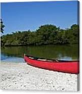 Canoe And Beach Canvas Print