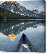 Canoe At Lower Waterfowl Lake With Canvas Print