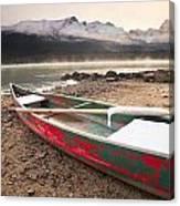 Canoe On Misty Fall Morning, Maligne Canvas Print