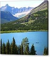 Canoeing At Glacier Canvas Print