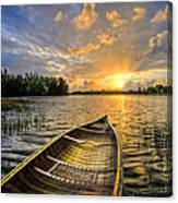 Canoeing At Sunrise Canvas Print