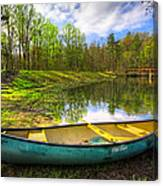 Canoeing At The Lake Canvas Print