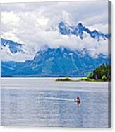 Canoeing In Colter Bay In Grand Teton National Park-wyoming Canvas Print