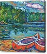 Canoes At Mountain Lake Sketch Canvas Print