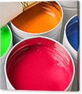 Cans Of Colored Paint Canvas Print