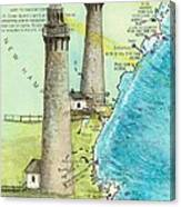 Cape Ann Twin Lighthouses Ma Nautical Chart Map Art Cathy Peek Canvas Print