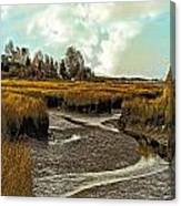 Cape Cod Americana - Low Tide In A Barnstable Village Marsh -  Canvas Print