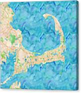 Cape Cod Watercolor Map Canvas Print