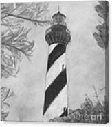 Cape Hatteras Light Black And White Canvas Print