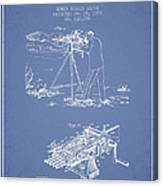Capps Machine Gun Patent Drawing From 1899 - Light Blue Canvas Print