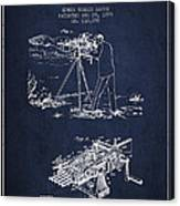 Capps Machine Gun Patent Drawing From 1899 - Navy Blue Canvas Print