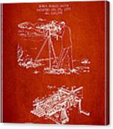Capps Machine Gun Patent Drawing From 1899 - Red Canvas Print