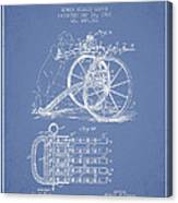 Capps Machine Gun Patent Drawing From 1902 - Light Blue Canvas Print