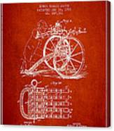 Capps Machine Gun Patent Drawing From 1902 - Red Canvas Print